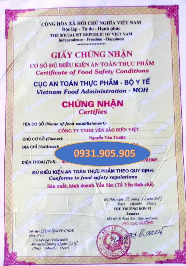 Chứng nhận Bộ Y Tế kiểm định chất lượng - Yến Sào Đà Nẵng